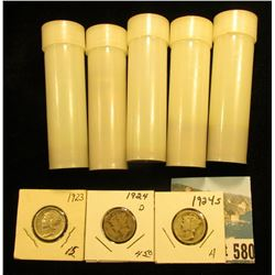 (5) Plastic tubes containing a few each 1937P, 37D, 38P, 40S, & 46D Wheat Cents; Mercury Dimes: 1923
