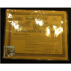 "Sept. 20, 1933 ""Certificate of Registration Barbers State of Indiana State Board of Examiners of Ind"