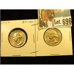 Pair of 1957 P Silver Washington Quarters, EF & Uncirculated.