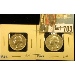 Pair of 1962 P Silver Washington Quarters, VF & EF,