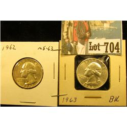 1962 P & 63 P Brilliant Uncirculated Silver Washington Quarters.