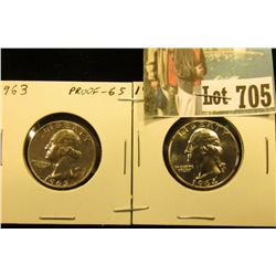 1963 P & 64 P Gem Proof Silver Washington Quarters.