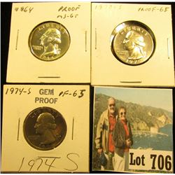 1964 P, 70 S, & 74 S Gem Proof Washington Quarters.
