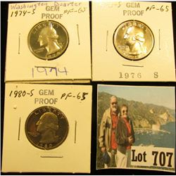 1974 S, 76 S & 80 S Gem Proof Washington Quarters.