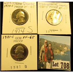 1974 S, 80 S, & 81 S Gem Proof Washington Quarters.