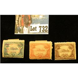 "Three-Piece 1886 Set of ""Central American Steam Ship Co."" 1c, 2c, & 50c Stamps."