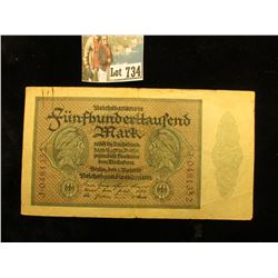 1920 era Germany 500,000 Mark Banknote, #88b, EF.