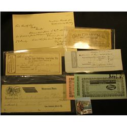 "1906 Check ""The Horse Whip Co. Makers Westfield, Mass.""; scrip ""Old Grist Mill Health Foods Premium"