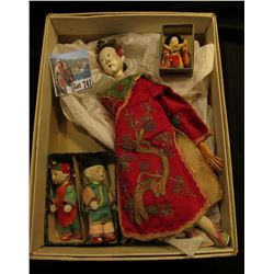 "Old ""Snickers"" Candy Bar Box containing a Chinese Doll with Porcelain head, 10 1/2"" in native dress;"