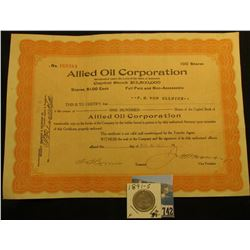 "1920 Stock Certificate for 100 Shares ""Allied Oil Corporation"" this historic company once owned all"