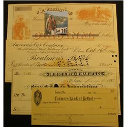 "Historic Checks: 1860 era Blank check ""J.P. Richards Banker Hannibal, Mo."", u.r. gold vignette of Na"