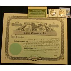 "Unissued Stock Certificate ""Tubbs Transports, Inc."" ""Shares $100 Each"", eagle vignette, u.c.; ""Union"
