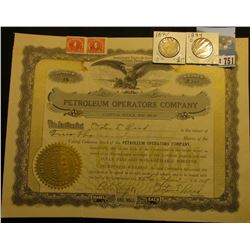 "April 23rd, 1918 ""Petroleum Operators Company"" 2000 Shares Stock Certificate, gold notary seal l., e"