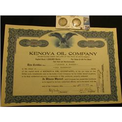 "1919 One Hundred Share Stock Certificate ""Kenova Oil Company…State of South Dakota"", embossed seal l"
