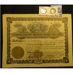 "1914 25 Shares Stock Certificate ""Consolidated Midway Chief Oil Co."", ""…Laws of Arizona"", embossed g"