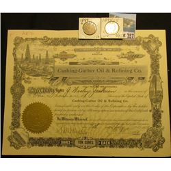 "1000 Shares of 1919 ""Cushing-Garber Oil & Refining Co."" Capital Stock, embossed gold seal l.l., vign"