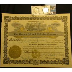 "2000 Shares of 1917 Capital Stock ""The Heaton Oil and Refining Company"", embossed gold seal l.l., oi"