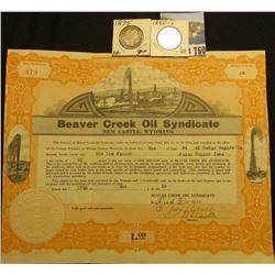 "25 Shares of 1935 Stock ""Beaver Creek Oil Syndicate"", embossed white seal l.l., oil derricks vignett"