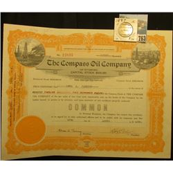 "12250 Shares of 1924 Capital Stock ""The Compass Oil Company of Wyoming:, orange embossed seal l.l.,"