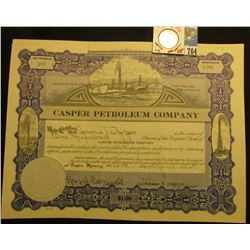 "100 Shares of 1917 Capital Stock ""Casper Petroleum Company"". oil derrick vignette u.c., embossed sea"