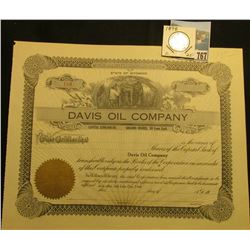"Blank Stock Certificate ""Davis Oil Company State of Wyoming"", gold seal l., underground mining view"