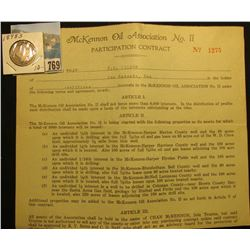 "1926 ""Participation Contract"" for Five interests of ""McKennon Oil Association No. II"" & 1898 S Barbe"