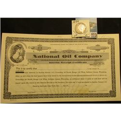 "Blank Stock Certificate ""National Oil Company Interim Receipt Certificate"", vignette of lady in Roma"