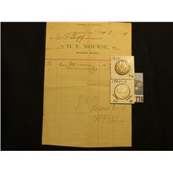 "1869 Letter with letterhead ""Mapleton, Iowa To H.F. Nourse, Dr. Resident Dentist. One Gld. crown $5"