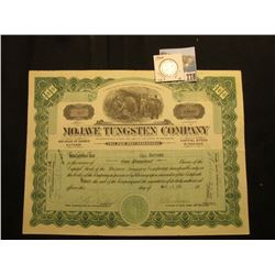 "100 Shares of 1916 Capital Stock of ""Mojave Tungsten Company"" State of Delaware, vignette of miners"