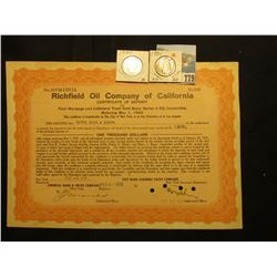 "1936 Certificate of Deposit $1000 in ""Richfield Oil Company of California…First Mortgage and Collate"