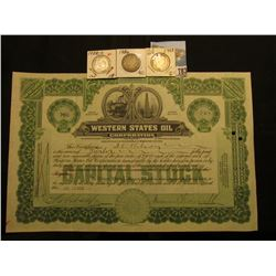 "12 Shares of 1924 Capital Stock in ""Western States Oil Corporation"", Oil derrick and refinery vignet"
