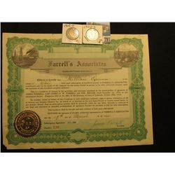 "1925 $100 Subscription ""Farrell's Associates…State of Colorado"", embossed gold seal l.l., vignettes"