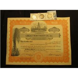 "10,000 Shares of 1925 ""Great Northern Oil Inc. Fort Collins, Colo."" each valued at One Cent, oil der"