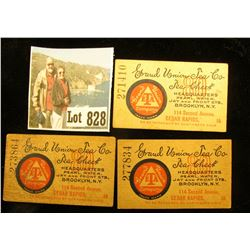 Three-Piece Set  Grand Union Tea Co. Tea Check…Cedar Rapids, Ia….  Scrip.