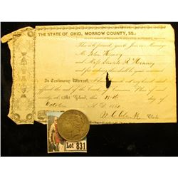 "Oct. 13th, 1850 Marriage Certificate ""The State of Ohio, Morrow County, S.S….""; & 1923 P U.S. Peace"