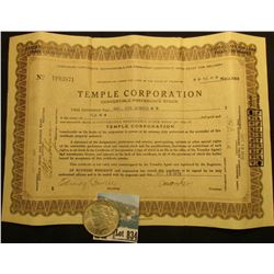 "10 Shares of 1929 Capital Stock ""Temple Corporation"", embossed seal c.l.,; & 1923 P U.S. Peace Silve"