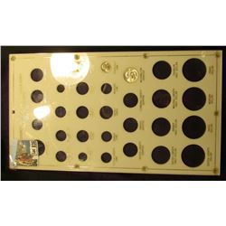 Large Capital Plastic Plexi-glass frame, white with gold lettering. Includes the following coins: 19