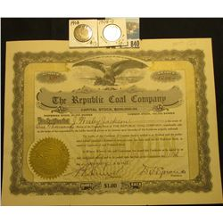 "1000 Shares of 1918 Capital Stock in ""The Republic Coal Company"", gold embossed seal l.l., eagle vig"