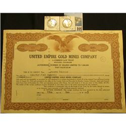 "400 Shares of 1933 ""United Empire Gold Mines Company A Common Law Trust Boulder, Colorado"" Par value"