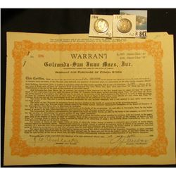 "1,060 Shares Class ""A"" & 133 Shares Class ""B"" 1929 ""Warrant Golconda-San Juan Mines, Inc. Warrant fo"