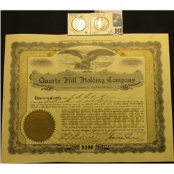 "1,613 Shares of Preferred Stock in 1929 valued at $100 each in ""Quartz Hill Holding Company"", emboss"