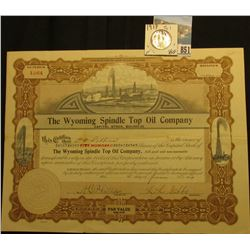 "500 Shares of 1919 Capital Stock in ""The Wyoming Spindle Top Oil Company…State of Colorado"" par valu"