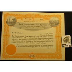 "Unissued Stock Certificate No. 88 ""Organized Under Declaration of Trust The Expansion Oil Lease Synd"