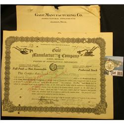 "1928 One Share of ""Gale Manufacturing Co. Agriculture Implements Albion, Mich."", plows illustrated u"