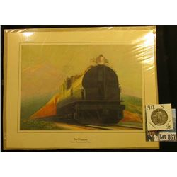 "Art Print of ""The Olympian Famous Transcontinental Train"", 5.25"" x 7.5""; & 1918 S Standing Liberty Q"
