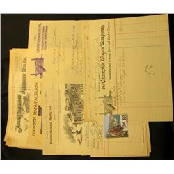 "Group of (10) Old Invoices, including: 1900 ""Racine General Manfg. Co.""; 1902 ""Bought of A.M. Baker"