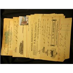 "Group of (19) Old ""Buggy"" related Invoices from the late 1890s to early 1900's, including one letter"