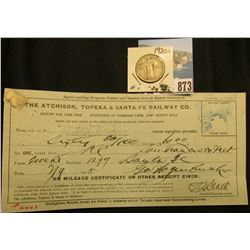 "1905 ""The Atchison, Topeka & Santa Fe Railway Co….Receipt for Fare Paid…""; & 1920 S Standing Liberty"