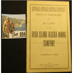 "Booklet ""Articles of Incorporation and By-Laws of the Rock Island Alaska Mining Company Davenport, I"