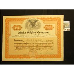 "40 Shares of 1921 ""Alaska Sulphur Company"" Capital Stock Certificate, vignette of eagle with flag an"